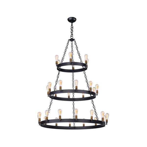 Maxim Lighting International Black and Natural Aged Brass 30-Light... ($1,598) ❤ liked on Polyvore featuring home, lighting, ceiling lights, antique brass light, hanging chain lights, maxim lighting, black lamp and black hanging lights