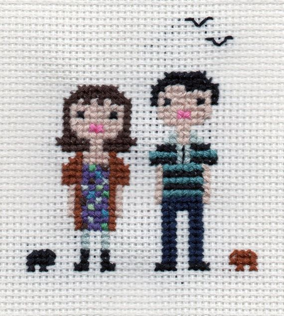 Custom Family Pixel Cross Stitch Portrait Framed by ScarletPyjamas