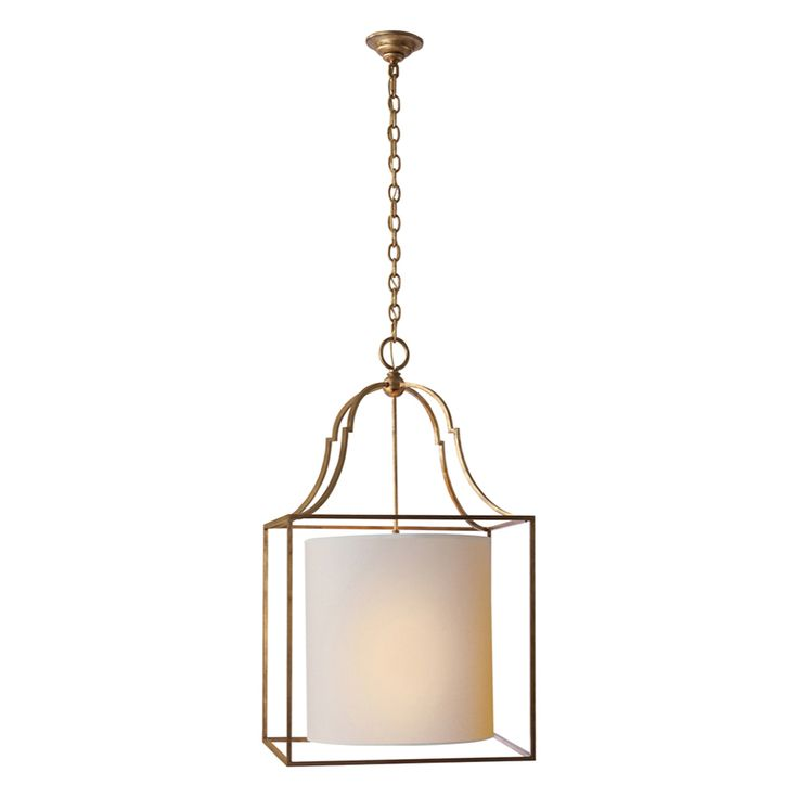 """Offering a fresh take on the lantern style is the 3 light Palmer Lantern with it's open and airy framework of cast metal. A classic drum shade is featured within a caged lantern style chandelier. Graceful and modern, this drum shade gives off soft light. The Gilded finish is applied by experts and the fixture is also available in variety of finishes.  IDEAL FOR: Kitchen, Master Bedroom, Small Foyers  DIMENSIONS: 37.75″H x 20″W Number Of Lights: 3 Shades: Natural Paper, 16"""" x 16"""" x..."""