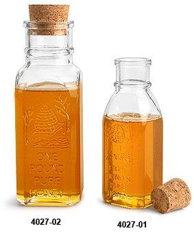 Glass Bottles, Clear Glass Muth Style Honey Bottles w/ Cork Stoppers