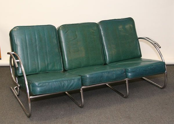 Tubular Chrome Modern Art Deco Sofa Bauhaus Machine