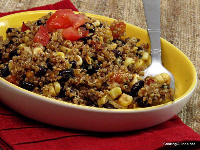 Black bean and quinoa salad.: Side Dishes, Black Beans Corn, Clean Eating, Quinoa Salad Black Beans, Cooking Quinoa, Black Beans Salad, Vegans Quinoa, Quinoa Recipes, Black Bean Salads