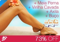 Depilação Completa! Meia Perna + Virilha Cavada + Axila + Buço...  DE: R$ 67,00  POR: R$ 17,90