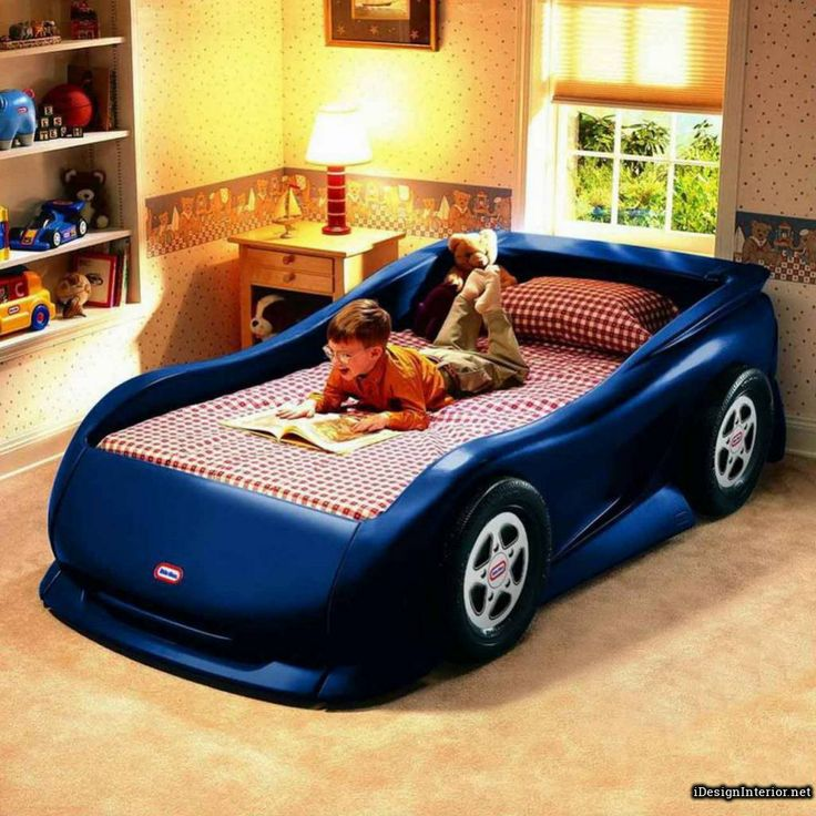 Superior Cheerful Blue Luxury Car Shaped Bed Design With Safe Structure For Kids  Bedroom #unique # Part 30