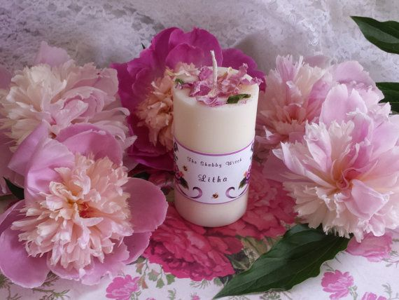 Litha Candle Midsummer Peony candle Summer by TheShabbyWitch, $11.99