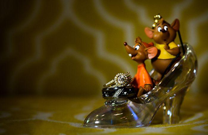 Adorable Cinderella inspired wedding ring shot.