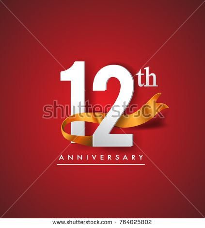 12th anniversary logotype with golden ribbon isolated on red elegance background, vector design for birthday celebration, greeting card and invitation card.