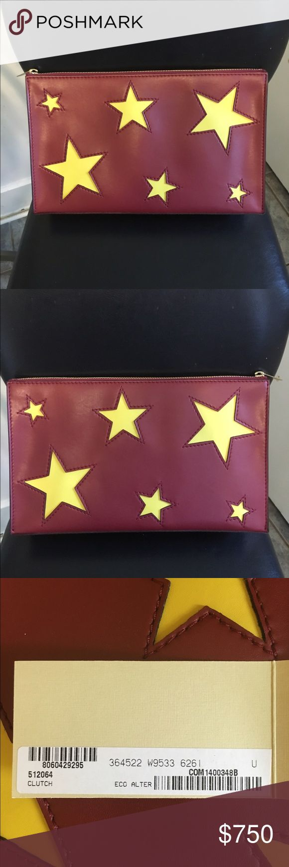 Stella McCartney Star Clutch💥FLASH SALE💥 Authentic Runway clutch by Stella McCartney. This clutch is amazing! This is not your every day clutch. Very large and roomy. RARE. Brand new, never carried. Comes with original dust bag and tag. If traded TV $900 1st and 3rd pictures are off the Internet to show size reference. Stella McCartney Bags Clutches & Wristlets