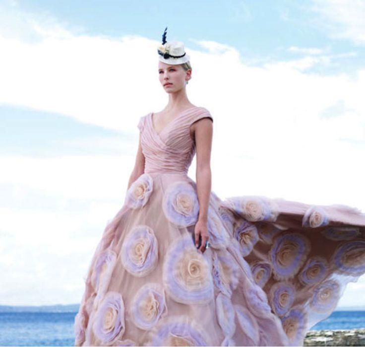Luly Yang Gismo Ruched Organza Cross Over Top Gown With Custom Applique Skirt And Hand Painted Detail From Couture
