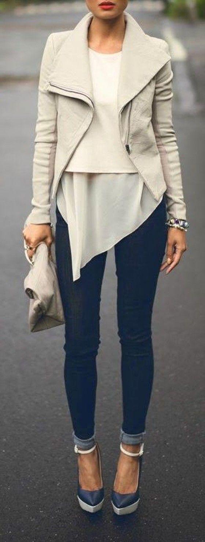 Beige Plain Irregular Zipper Turndown Collar Long Sleeve Fashion Cardigan Leather Coat
