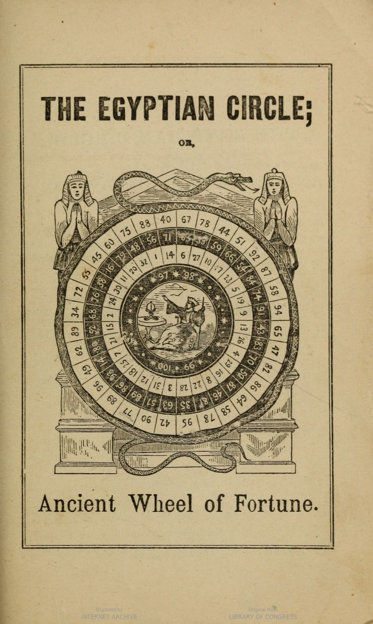 The Egyptian circle or ancient wheel of fortune. Includes instructions in using it. Madame Zadkiel's Fortune teller and Mirror of Fate.