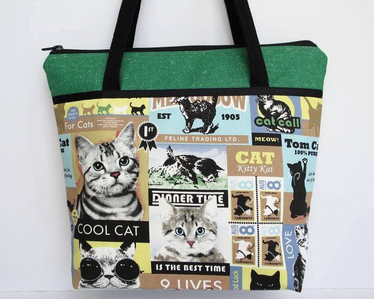 Women's Handbag, Shoulder Bag with Zip, Bag with Pockets, Crazy Cat Lady, Cat Bag, Gift for Cat Lover, Kitten Bag, Cat Handbag, Cat Posters by RachelMadeBoutique on Etsy https://www.etsy.com/au/listing/518937596/womens-handbag-shoulder-bag-with-zip-bag
