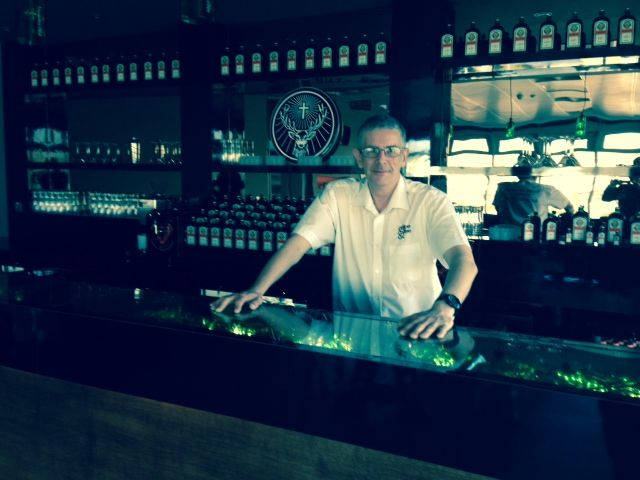 Peter carrying out a coffee machine demonstration at Jagermesiter. Coffee isn't the only thing being tasted.