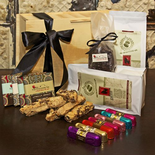 A great hamper with two varieties of freshly roasted African Arabica coffee, biscotti and chocolate to share. African arabica coffee, Assorted slabs, Chocolate biscotti, Coffee beans coated in Chocolate, Truffle fingers