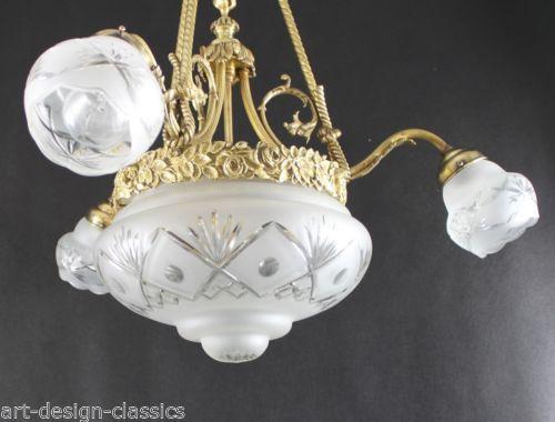 Traumhafter Jugendstil Luester Leuchter Lampe Haengelampe Deckenlampe EUR 333