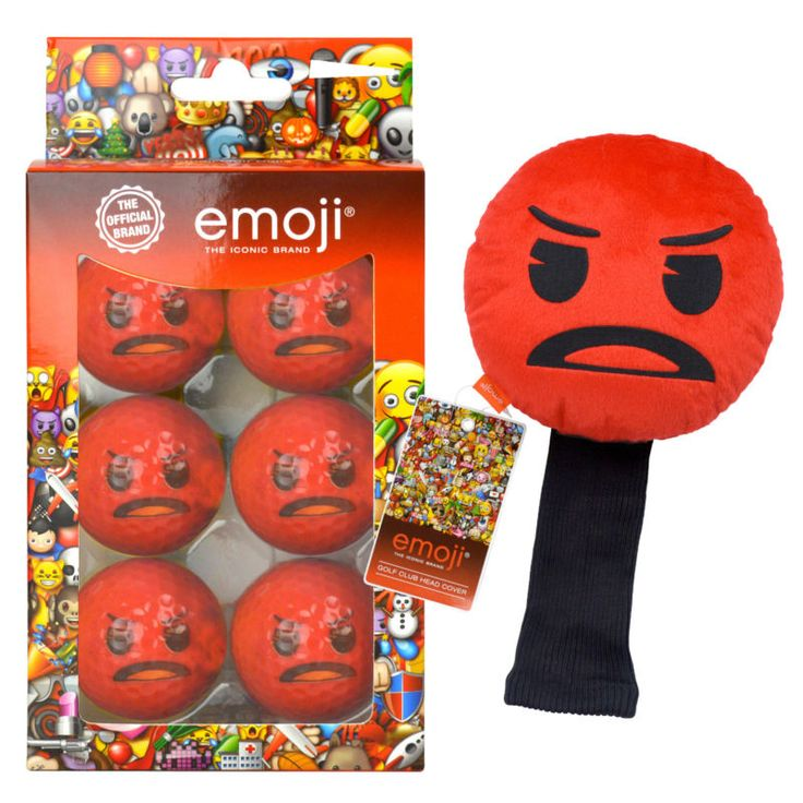 Angry Emoji Novelty Golf Gift- Head cover and Golf balls! Present to buy now on Ebay!