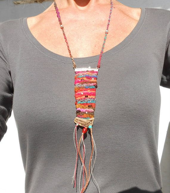 Hand Woven Necklace mini Tapestry with Silver by manufabrica