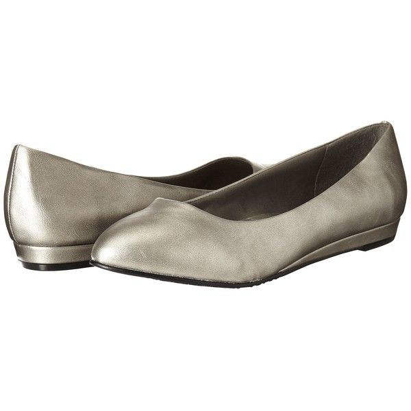 Soft Style Darlene (Dark Pewter Leather) Women's Dress Flat Shoes ($50) ❤ liked on Polyvore featuring shoes, flats, synthetic leather shoes, pointed toe flats, wedge flats, leather flat shoes and pewter shoes