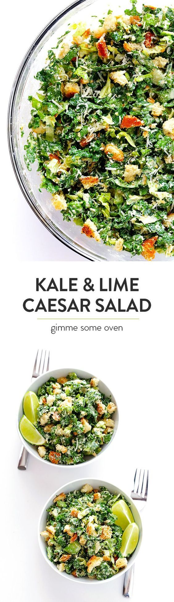 Kale Caesar Salad -- made with a lighter and delicious lime Caesar dressing | http://gimmesomeoven.com