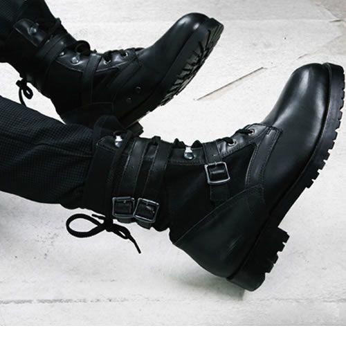 Men's Black Leather Lace Up Boots