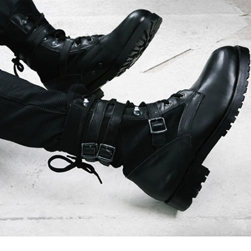 Men Black Leather Lace Up Gothic Punk Biker Combat Boots SKU-1100002
