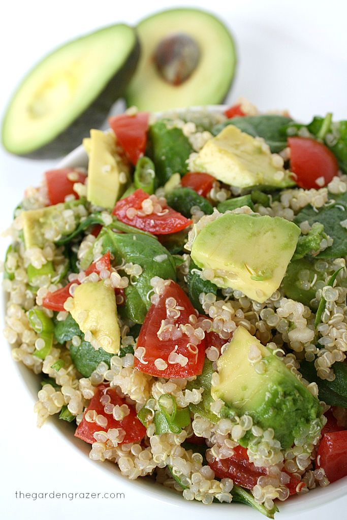 Quinoa Avocado Spinach Power Salad by thegardengrazer #Salad #Quinoa #Avocado #Spinach #Holiday