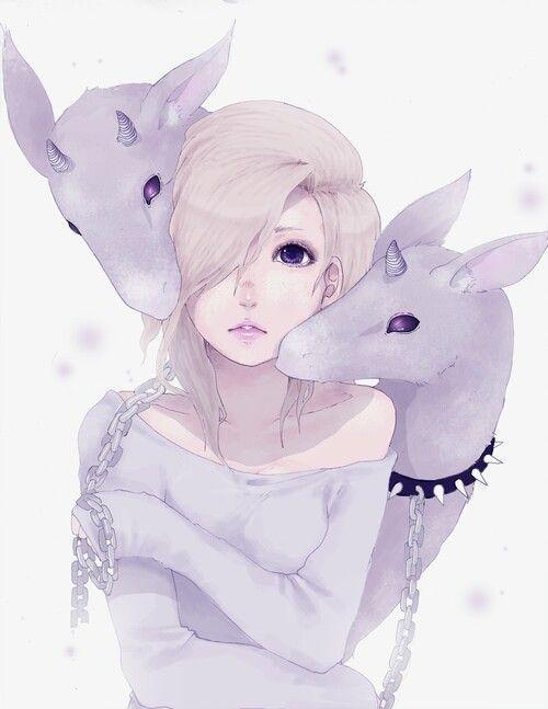 silver hair anime girl pastel goth - Google-haku