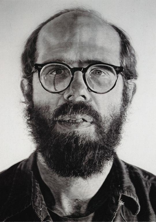 "Self Portrait - Chuck Close, 1976-77. Watercolor on paper on canvas, 81 x 53.75""."