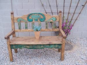 Beautiful Wood Bench Seashell Design Green And Teal Aqua Turquoise Accents 55 Inches Wide 48 Tall X 24 Inch Rustic Arizona Style Turqu