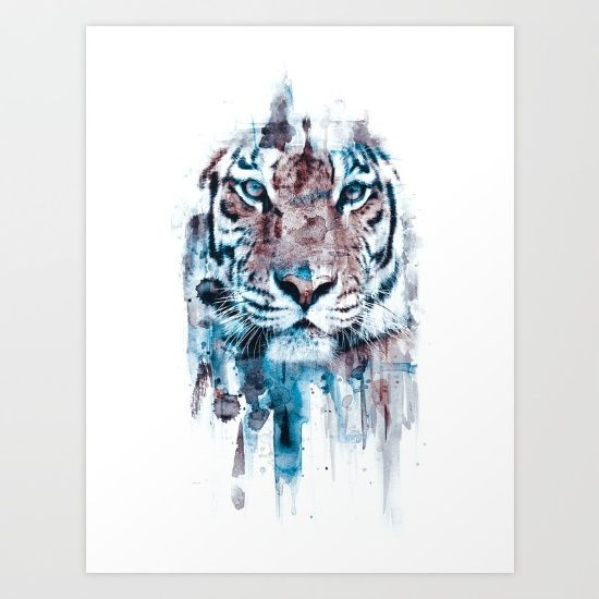 tiger, animal. wild, blue, white isolated...