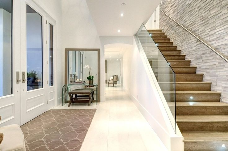 Modern Foyer Stair Design Gray Stone Wall Amp Accents
