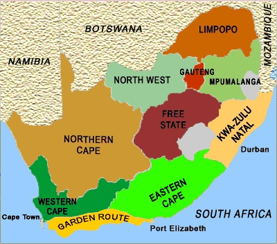 South Africa Map- taking the Garden Route!