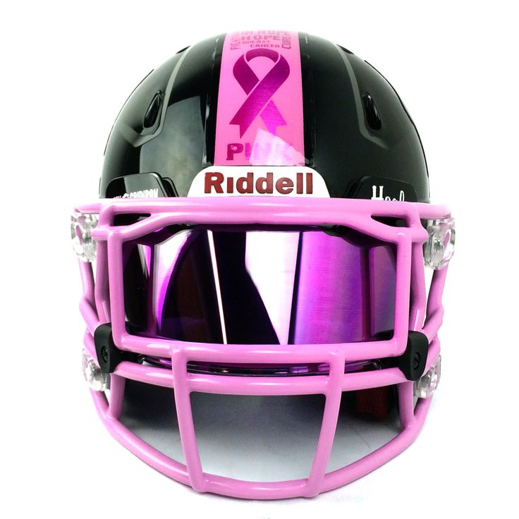 Black riddell 360 helmet with bca pink 360 2eg ii sp facemask by green gridiron chrome decals by healyawards and hot pink visor