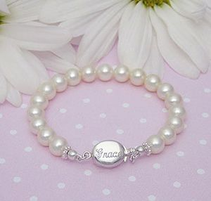 Baby S First Pearl Bracelet Our Customer Absolute Favorite Beautiful Cultured Pearls And Her Name Or Monogr