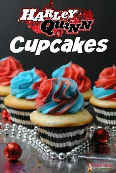 Harley Quinn Cupcakes Recipe for a great Suicide Squad Inspired Recipe or a movie themed cupcake night.