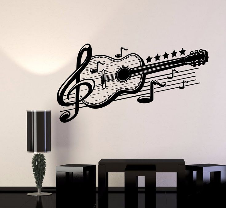 Vinyl Wall Decal Guitar Musical Art Music Decor Stickers Mural 443ig Musical Wall Art Music Wall Stickers Guitar Wall Art