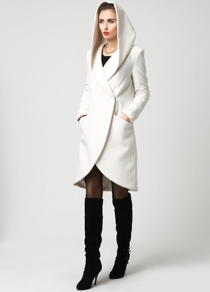 Womens Wool Midi Coat with Hood in Winter White 1119 by xiaolizi