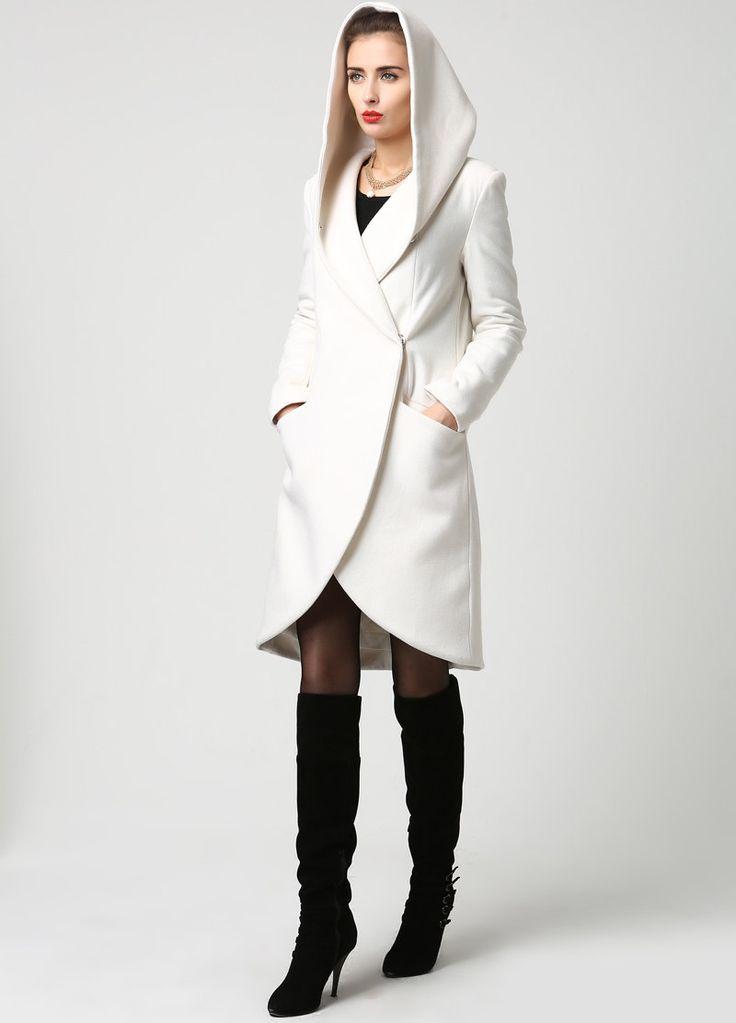 Womens Wool Midi Coat with Hood in Winter White 1119 by xiaolizi