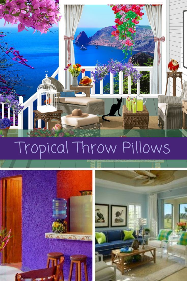 Trendy, Cute and Bright Tropical Throw Pillows  Tropical throw pillows are the perfect way to bring the warmth of the tropics to your home easily and affordably. It does not matter if you like bold and bright jungle flowers or sun kissed beaches at sunset