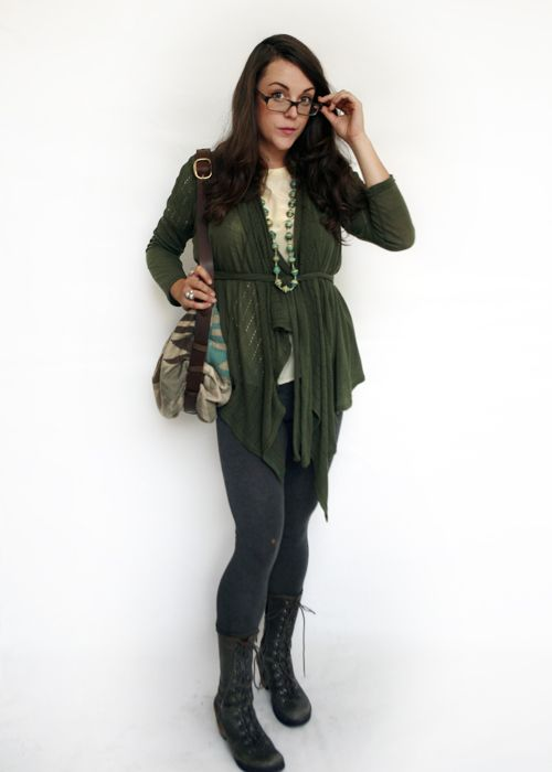 Paper People Clothing: Yvonne - A Transitional Layering Essential - Eco Fashion - Recycled Fibres - Made in Canada - Cardigan - Sweater - Green - Boots - Glasses