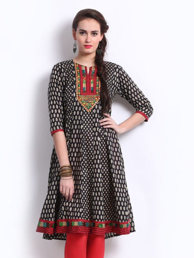 #Black Long #Fancy Kurtis  For More Kurtis/Tunic Check this page now :-http://www.ethnicwholesaler.com/kurtis-tunics