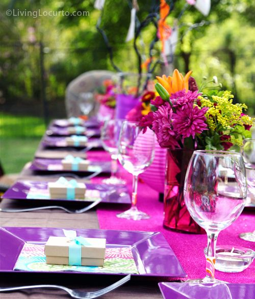 Outdoor garden party with bright pinks, purples and orange. LivingLocurto.com