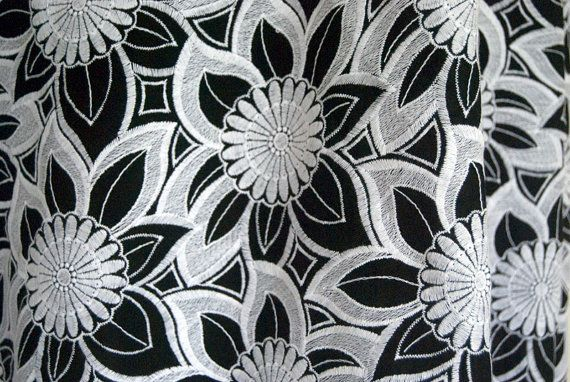 Cotton Voile  black with white embroidered flowers on Etsy