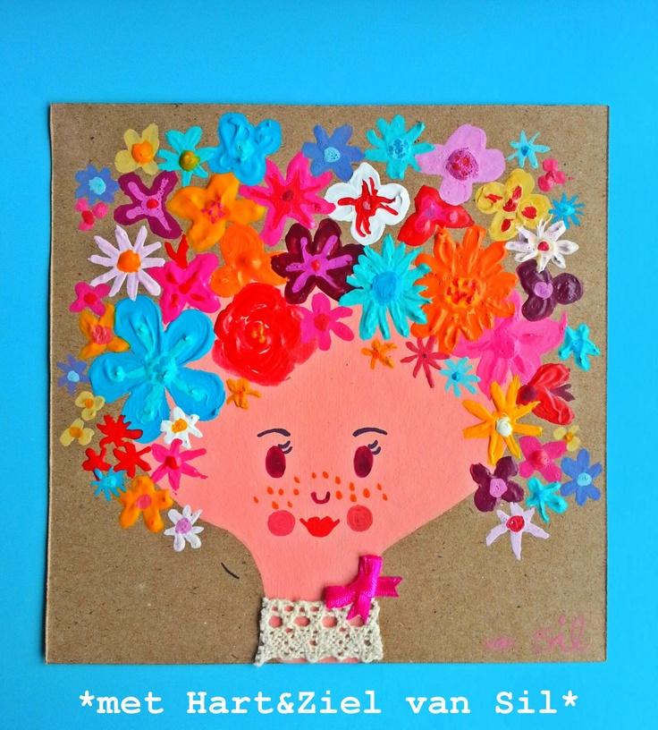 ~Ik fleur je op-kaart geschilderd door mijzelf~