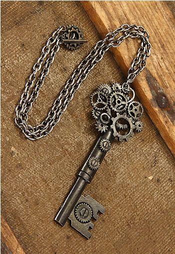 $9.99 Steampunk Antique Key Gear Necklace