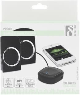 DELTACO BT-124 Portabel Bluetooth-lydmottaker, Bluetooth 3.0 class 2, innebygd…