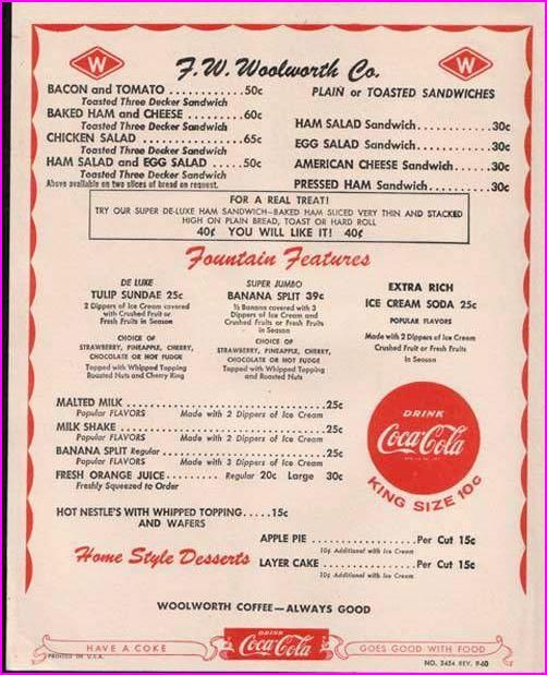 Menu from the lunch counter at WoolworthsRemember, Sodas Fountain, Woolworths Menu, 1950S, Woolworths Lunches, Lunches Counter, Lunches Menu, Memories, Grilled Chees