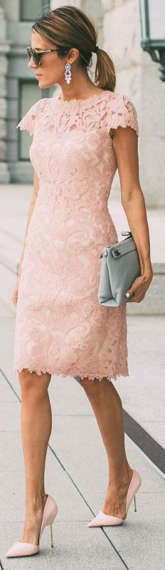 Click Image For All The Secrets To Attract Women! blush pink lace dress perfect way sexy chic look simply oozes femininity Christine Andrew pair of stilettos neutral accessories. Dress: Nordstrom.
