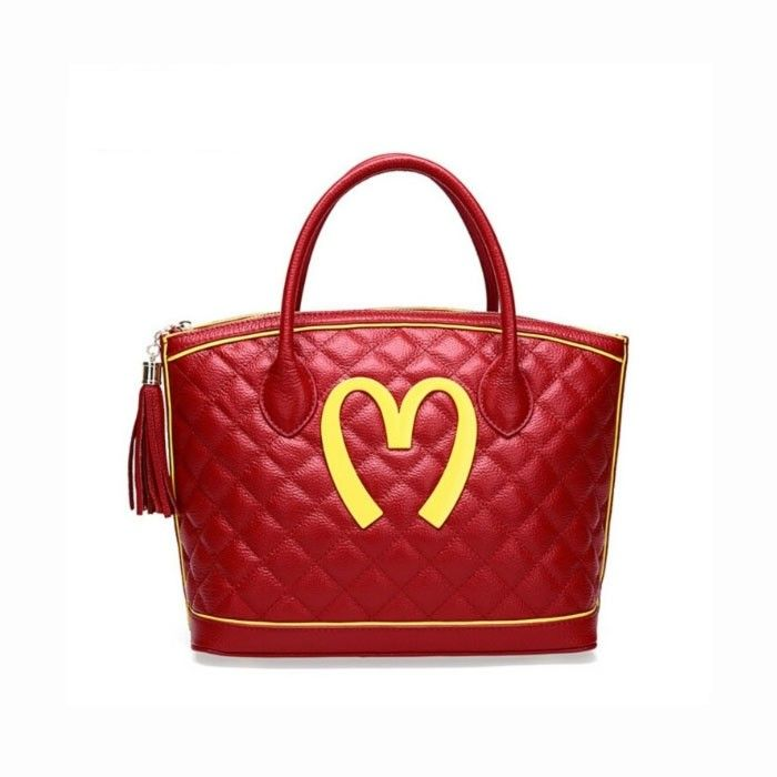 Moschino McDonald Logo Womens Quilted Leather Tote Red