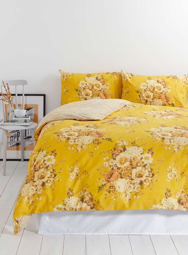 Photo 2 of Vintage Nostalgia Yellow Floral Bedding Set